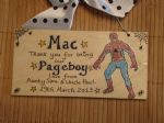 SPIDERMAN PAGEBOY RINGBEARER USHER BEST MAN WEDDING FAVOUR KEEPSAKE THANK YOU SIGN PERSONALISED Handmade Each One Unique OOAK